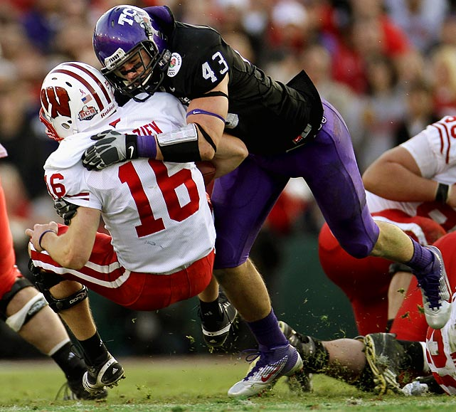 The conference's reigning defensive player of the year has 158 career tackles, including 20 1/2 for loss and 16 pass break-ups. He etched his name into Rose Bowl lore by batting down Wisconsin's two-point conversion attempt to secure TCU's win.