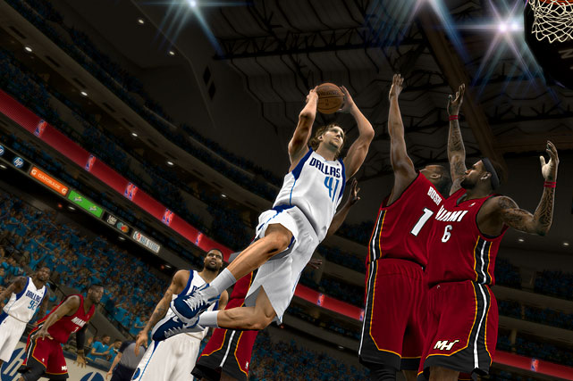 As a player Michael Jordan was never one-upped, but as a video game feature, he might have just been outdone. As awesome as it was to re-create Jordan's most historic moments in  NBA 2K11 , 2K12 takes it a step further by introducing a whole new batch of playable legends with the NBA's Greatest mode.  Not only can you play as Wilt Chamberlain, Bill Russell and Julius Erving, but if you win, you also unlock the team you're playing against as those legends. You know what that means: Craig Hodges on the '86 Bucks! Seriously though, in addition to Magic, Bird and Jordan, you also get guys like Orlando Magic guard Penny Hardaway in his prime -- as well as thin Shaq, Larry Johnson (Grandma-ma!) and Alonzo Mourning, and Atlanta Hawk Dominique Wilkins at his backboard shaking best. The games range from the 60s (Russell's Celtics) to the late 90s (Stockton-Malone's Jazz), and the appearance changes accordingly. The early games are broadcast in grainy black and white with tin-like crowd noise and no three-point line.  All of these match-ups feature the same smooth gameplay the 2K series has perfected in the last couple of years plus new animations like players jumping over the scorers' table while chasing loose balls. Kudos to 2K for not resting on their laurels after bringing MJ back from retirement last year. There's a lot to look forward to here.  NBA 2K12 is scheduled for an October 4 release on the Xbox 360, PS3, PC, Wii, PSP and PS2.