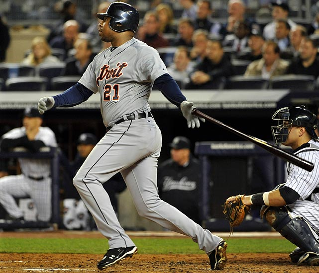 The difference-making bat in Detroit's series win over New York didn't arrive until mid-August, but Delmon Young made the most of his time during the postseason. Acquired from Minnesota late in the season, Young had two timely home runs in the Tigers' series with the Yankees. In Game 3, the outfielder hit the tiebreaking blast in the seventh inning. In Game 5, Young added the second of back-to-back first-inning home runs that gave Detroit a lead it clung to for the rest of the night.