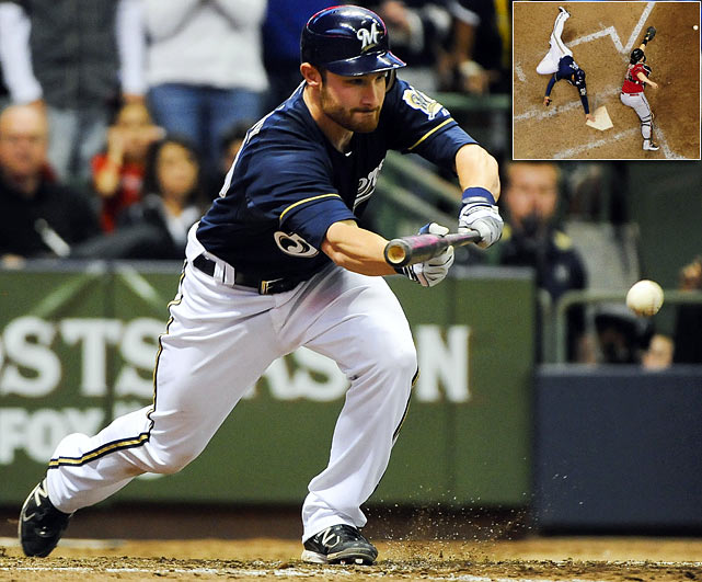 "Jonathan Lucroy, nicknamed Mr. Squeeze for his bunting ability, picked a good moment to lay down a beauty. Lucroy bunted home the go-ahead run to key a big sixth inning for the Brewers. ""It's a free RBI if you execute, and I really work hard to get that down,"" Lucroy said. Little things like his safety squeeze helped Milwaukee advance to the NLCS."
