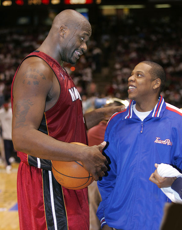 Hova and Shaq Diesel got friendly after Game 3 of the 2006 Eastern Conference semifinals against New Jersey.