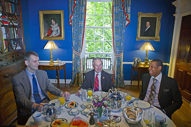 Nets owner Mikhail Prokhorov, New York City Mayor Michael Bloomberg and Jiggaman enjoy a breakfast of champions at Gracie Mansion in Manhattan.