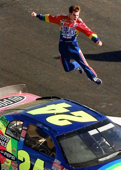 Gordon jumps from the roof of his car after winning the Winston Cup championship at the Atlanta Motor Speedway in 1997.