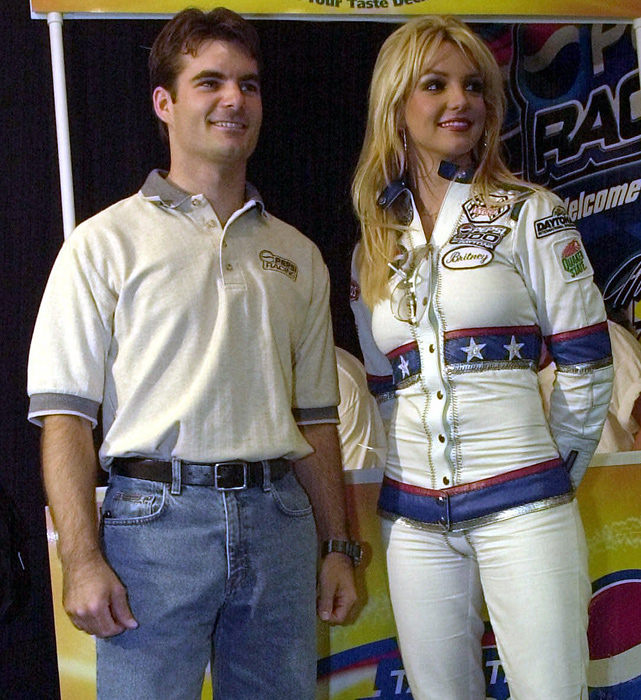 Gordon poses with Britney Spears, who was the grand marshal for the 2001 Pepsi 400 in Daytona.