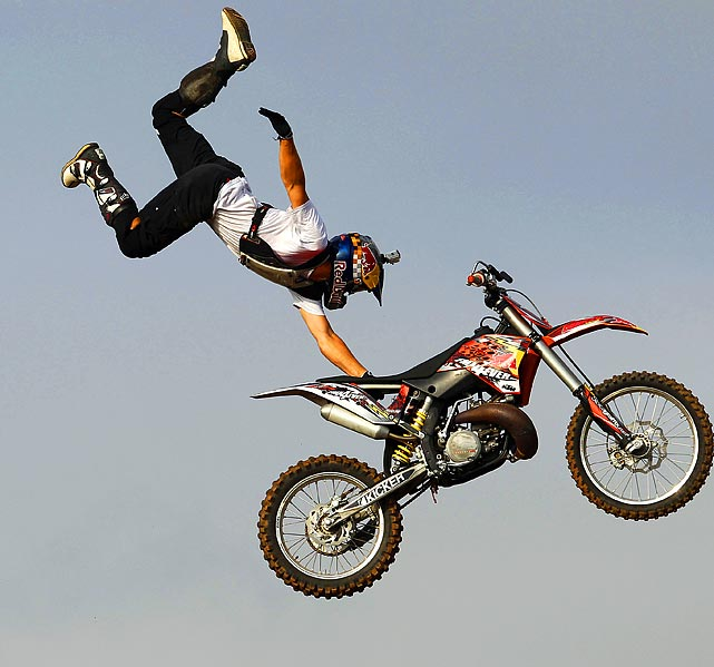 A stunt rider for Red Bull X-Fighters put on a show in Colombo, Sri Lanka on July 30.