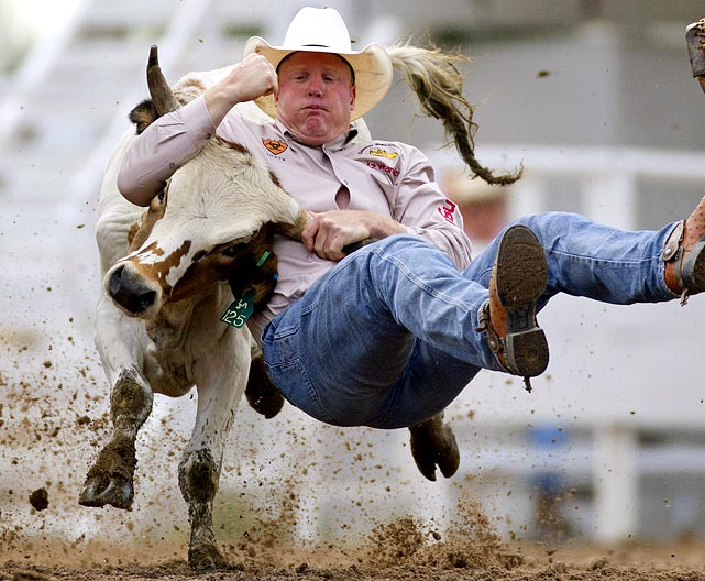 Lee Graves' attempt at steer wrestling lasted 8.3 seconds at the 115th annual Frontier Days celebration in Cheyenne, Wyoming.