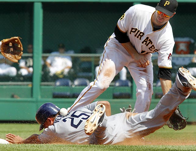 San Diego Padres' Will Venable got a ball to the back while stealing second base when Pittsburgh's second baseman Neil Walker missed a throw from catcher Ryan Doumit. Venable advanced to third on the error.