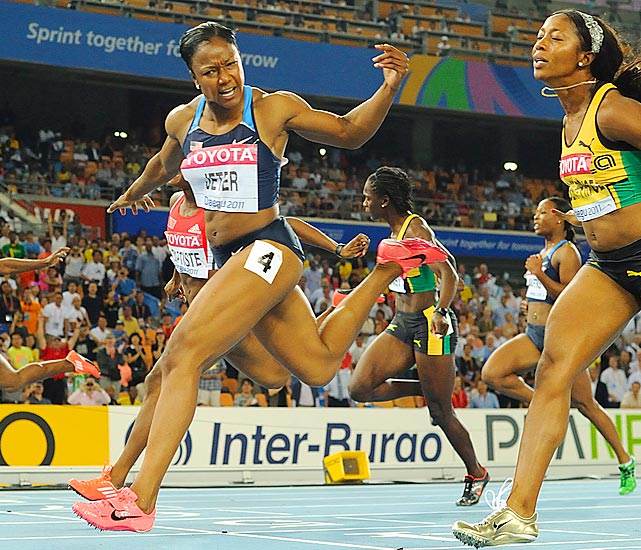 The United States' Carmelita Jeter sprints to victory in the women's 100 meter final during the IAAF World Championships.