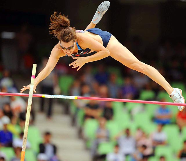 The United States' Lacy Janson successfully clears the bar in the pole vault qualification at the IAAF World Championships. Don't worry, her sunglasses didn't fall off through the entire jump.