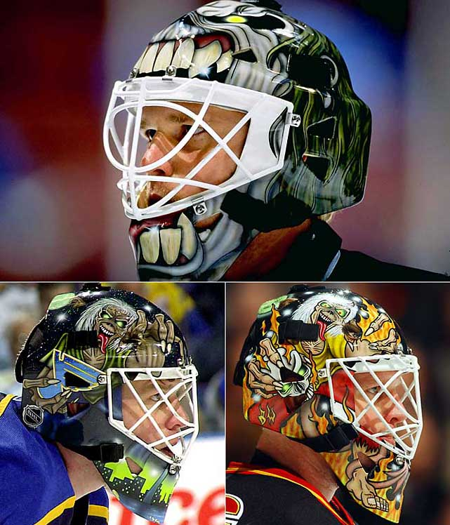 "Dallas Stars (1999), St. Louis Blues (2001),  Calgary Flames (2003)    Eddie will return for the 2011-12 season on a new mask worn by Chris Mason of the Winnipeg Jets. ""We went back and forth, lots of phone calls, and I sent [designer] Steve [Nash, of Eyecandyair] some sketches and he did some art and we mulled over a bunch of different ideas,"" Mason told  InGoal Magazine . ""Then he came up with the Iron Maiden Eddie (the band's mascot) in the old fighter jet and I thought it was perfect. I loved the image and thought that was really appropriate for the Jets."""