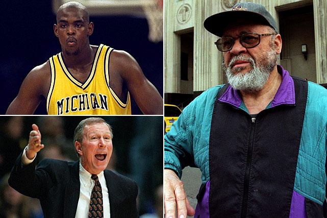 Michigan, led by its flashy Fab Five of Jalen Rose, Chris Webber, Juwan Howard, Jimmy King and Ray Jackson, took the nation by storm during the early 1990s. The group of freshmen stormed to back-to-back national championship berths, though they eventually fell short in both contests. The losses weren't their only downfalls. A later investigation revealed that booster Ed Martin (right) provided $616,000 to Webber, Maurice Taylor, Robert Traylor and Louis Bullock, setting off a number of subsequent punishments. Head coach Steve Fisher (bottom left) was fired, the Wolverines were placed on  a two-year probation period and the program was forced to surrender its 1992 and 1993 Final Fours.