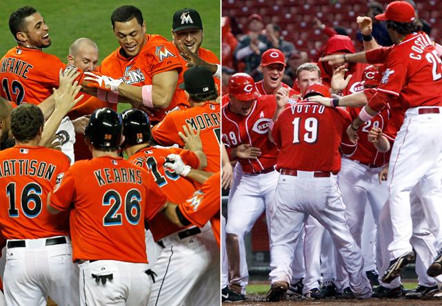 The Marlins' Giancarlo Stanton and the Reds' Joey Votto both hit game-ending grand slams on May 13, 2012, marking the first day with two walk-off slams since April 10, 1998, when Mo Vaughn of the Red Sox and the Padres' Steve Finley accomplished the feat. Votto became the first player ever to cap a three-homer game with a slam.