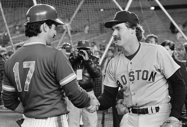 Two other notable players were Red Sox third baseman Wade Boggs and Mets first baseman Keith Hernandez. Boggs led all of baseball with a .357 average during the regular season while Hernandez batted .310 and won a Gold Glove. In this photo, the two shake hands before the start of the World Series.