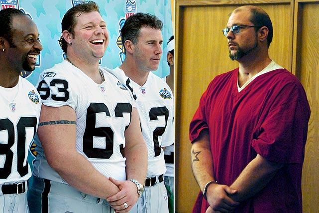 The Raiders' Pro Bowl center (second from left) made headlines before Super Bowl XXXVII in 2003 when he vanished from the team's hotel in San Diego and did not play in the game, which Oakland lost to Tampa Bay, 48-21. Robbins, who had gone off on a binge in Tijuana, was later found to suffer from bipolar disorder, which produced violent mood swings. In 2005, he injured three police officers while resisting arrest and was shot, spending nearly two months in a coma. In March 2011, he was sent to prison for five years for violating his probation by being arrested for cocaine possession.
