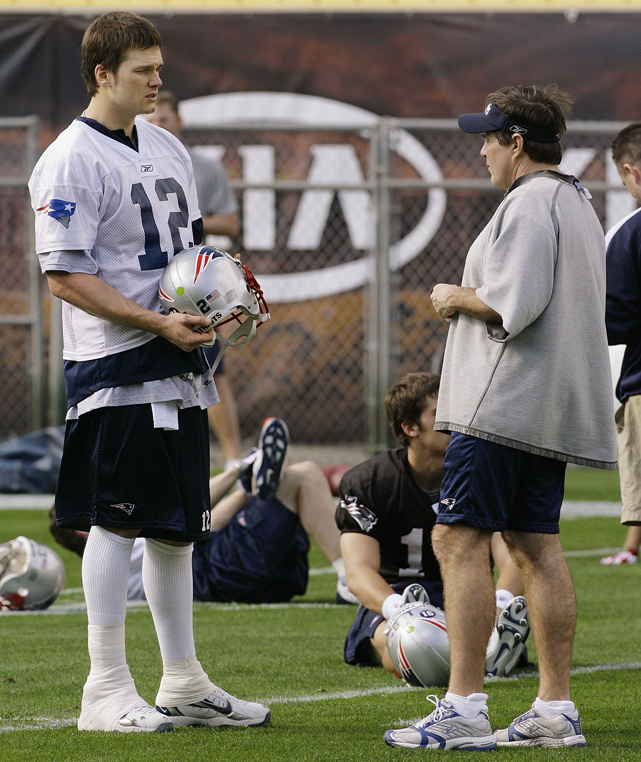 Belichick talks with Tom Brady, the 199th pick in the 2000 draft. The Michigan alum led the Patriots to three Super Bowl titles and is considered one of the NFL's all-time top quarterbacks.