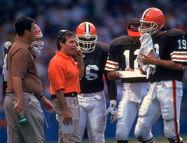 From 1991 to 1995, Belichick was the head coach of the Cleveland Browns. Though he compiled a respectable 31-33 record in his first four seasons, including a playoff victory in 1994, many fans were disenchanted with Belichick's cold demeanor. He also made the controversial move of benching and then cutting Bernie Kosar and replacing him with Vinny Testaverde.