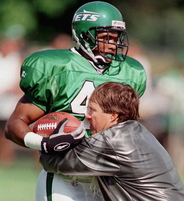 In 1997, after a season serving as assistant head coach and defensive backs coach in New England, Belichick joined Parcells as assistant head coach and defensive coordinator for the Jets. The coach demonstrated the art of tackling to free safety Marcus Coleman during the opening day of training camp.