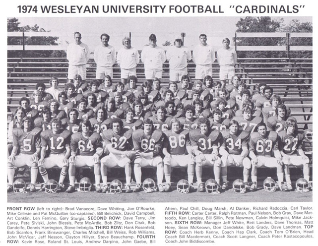 After a year at Phillips, Belichick enrolled at Wesleyan University in Middletown, Conn. He lined up at center and tight end for the football team and also played lacrosse and squash.
