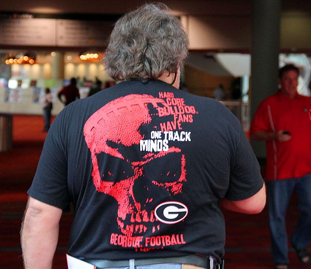 A Georgia fan wears his allegiance subtly.