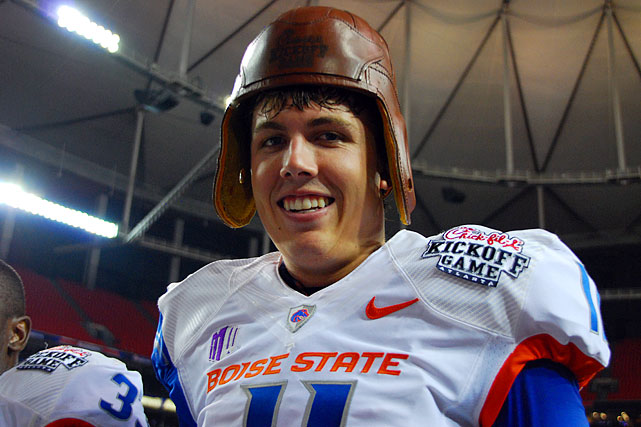 Kellen Moore finds the Old Leather Helmet trophy lives up to its name.