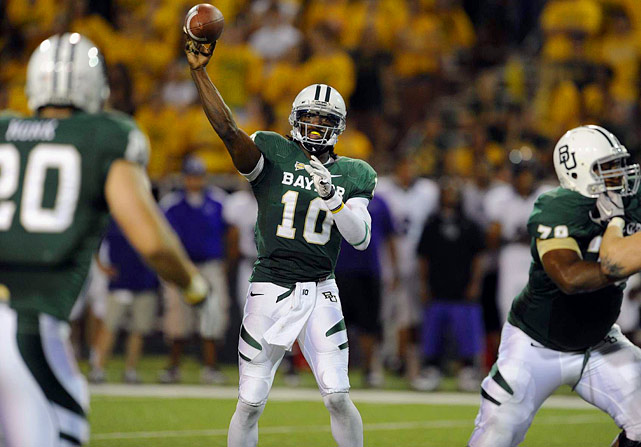 Last week:  20-of-22 passing for 265 yards and three TDs; eight rushes for 78 yards in 48-0 win over Stephen F. Austin.   Season:  41-of-49 passing for 624 yards and eight TDs; 18 rushes for 116 yards; one reception for 15 yards.  The only thing that could stop Griffin was Mother Nature as he continued his blazing start to the season. He had completed a staggering 90.9 percent of his passes (20 of 22) in leading the Bears to scores on their first five drives and eight of the nine that he played in before the game was stopped in the third quarter due to lightning. RGIII leads all FBS passers with a 244.5 rating, and most amazingly, he has as many incompleted passes (8) as TDs throws.   Next up:  Saturday vs. Rice