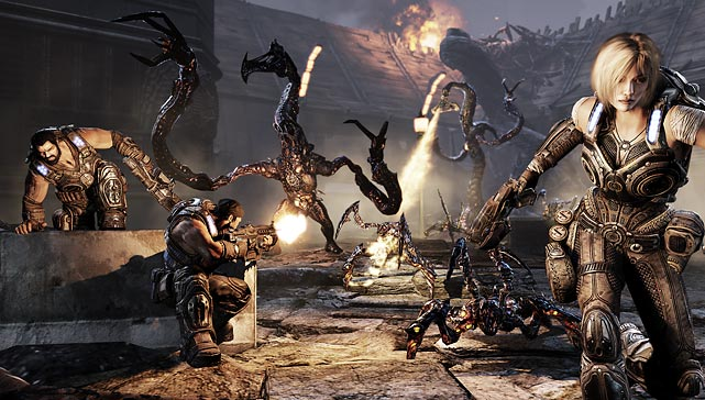 Gears of War 3 is the kickoff title to the forthcoming orgy of holiday releases, but it's closer to a summer blockbuster movie than a typical game. The third game in the Xbox 360-exclusive trilogy comes packing with a strong, lengthy single player campaign that continues the story of the doomed planet Sera, which has been overrun by a variety of gnarly monsters.   The Gears series is known for several key elements: cover-based gunplay, torrents of gore, sterling multiplayer and an increasingly outlandish armory of weapons. Gears 3 doesn't disappoint, with a variety of top-notch set pieces that, surprisingly, tell a credible story among the constant action.   The multiplayer is top-notch, with a wide variety of well-designed maps and new modes. The best of them, Horde 2.0, combines the second game's wave-based attacks with strategic elements that require teamwork and coordination.    The game looks simply brilliant, with some of the most detailed and convincing texture work to be found on any console, and the characters carry forth much of the humor and overwrought pathos from the earlier titles. With the promise of copious DLC to come, Gears looks to keep delivering over the next few months, and, for action gamers of any breed, it's a must-buy.  Score: 10 out of 10