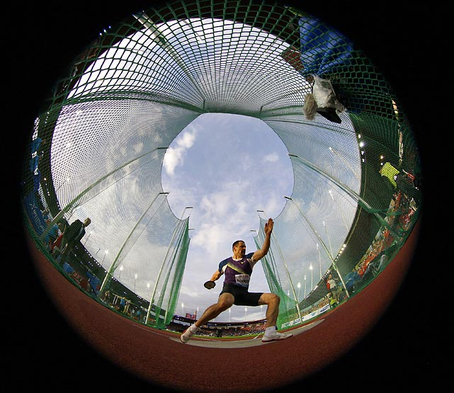 Hungary's Zoltan Kovago competes in the discus event at an IAAF Diamond League meet.