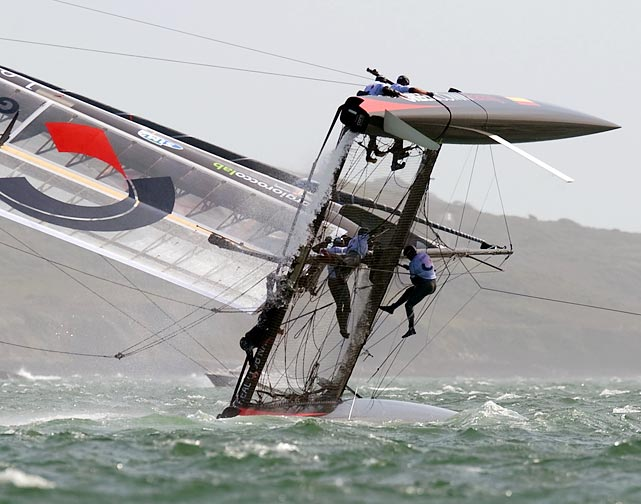 Unfortunately, this Spanish crew has trouble successfully navigating the choppy waters during the second day of racing at the America's Cup.