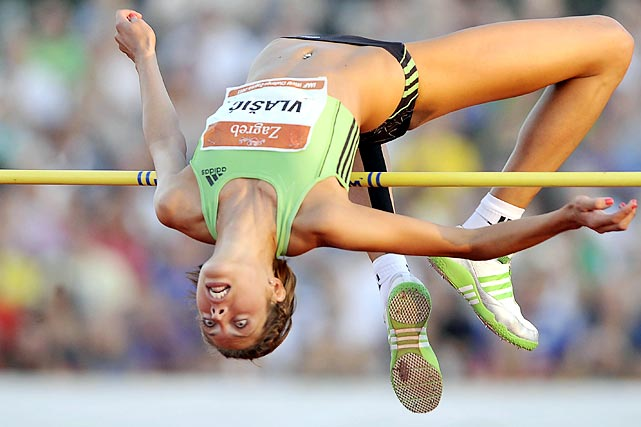 Blanka Vlasic of Croatia shows off her hops to her home country during the high jump event at the IAAF grand prix in Zagreb.