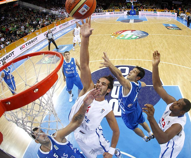 Since it doesn't look like he'll be playing for the Bulls anytime soon, Joakim Noah can put all his effort into this tip-in at the EuroBasket tournament in Lithuania. Noah's French squad fell to Spain in the tournament final.