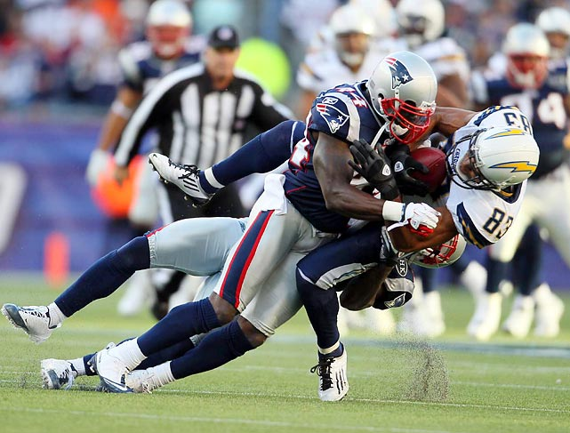 Patriots safety James Ihedigbo seems to be filling in fine for Brandon Meriweather, who was cut by the Patriots. Ihedigbo levels Vincent Jackson to help the Patriots start the season 2-0.