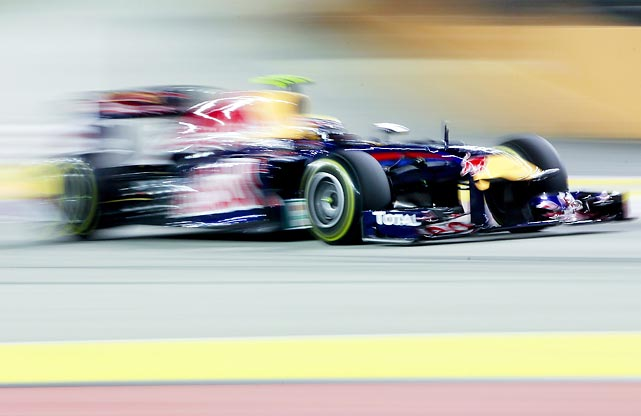 Mark Webber of Red Bull steers his car during a practice session for the Singapore Formula One Grand Prix.