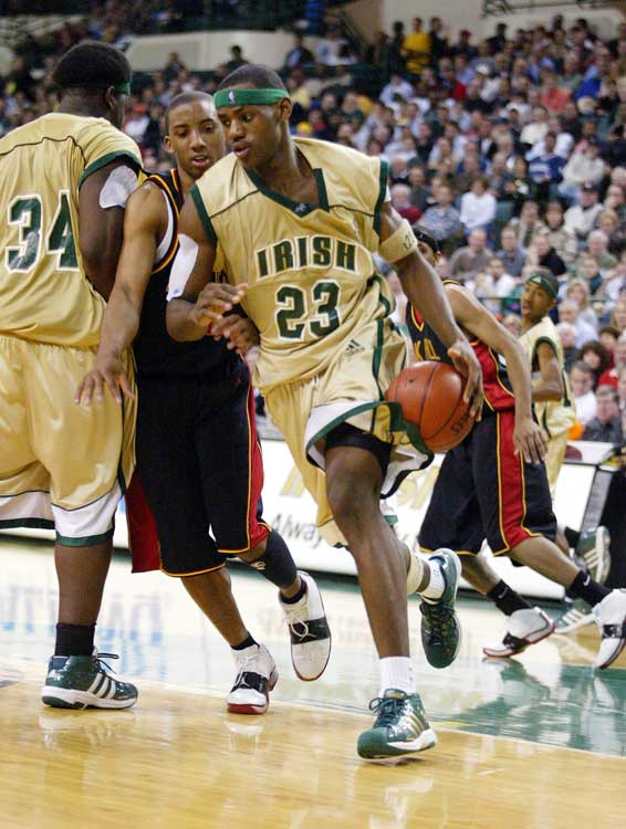 A December 2002 meeting between SVSM and No. 1-ranked Oak Hill was aired on national television, and James lived up to the hype. He scored 31 points on 12-for-25 shooting, and had 13 rebounds and six assists in SVSM's 65-45 upset win.