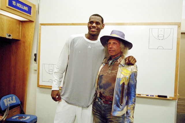 LeBron with NBA superfan James Goldstein in the locker room before a game against Mater Dei High School in L.A.