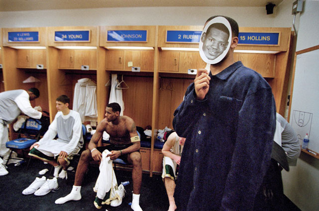 LeBron's teammate and now business partner, Maverick Carter, goofs off in the locker room.