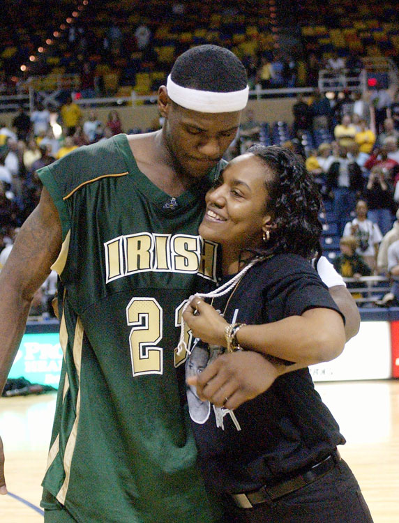 LeBron hugs his mother, Gloria James.