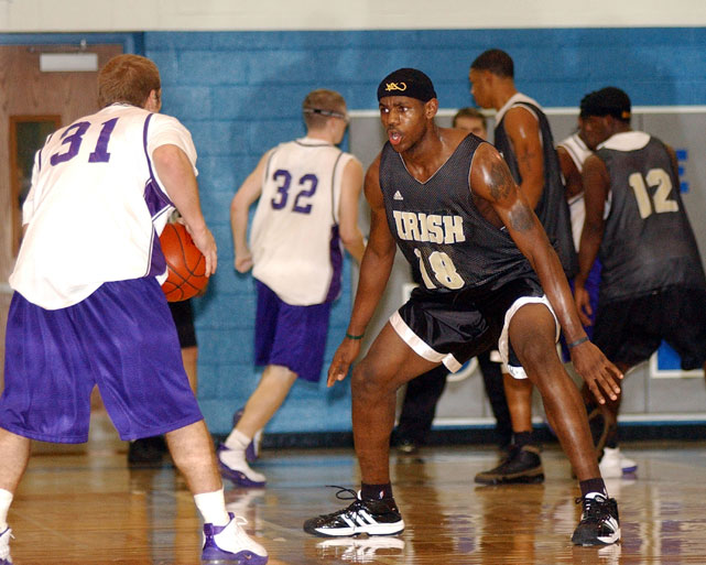 James goes to work in a scrimmage.
