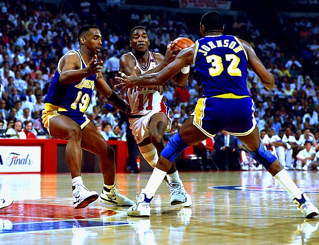 The first of back-to-back Bad Boys title teams featured a stout defense and a balanced offense anchored by the backcourt duo of Isiah Thomas and Joe Dumars. Detroit (63-19) was six games better than the rest of the league, and its 15-2 romp through the playoffs included a sweep of the banged-up Lakers in the Finals.
