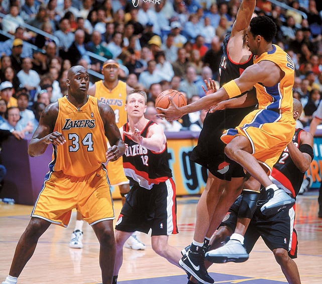 No, the second of L.A.'s three consecutive championship teams wasn't dominant in the regular season: The Lakers tied for second in the NBA with 56 victories, their average scoring margin was only plus-3.4 and they ranked 21st in defensive efficiency. But their playoff run was something special. Behind Shaquille O'Neal (30.4 ppg, 15.4 rpg) and Kobe Bryant (29.4 ppg, 7.3 rpg, 6.1 apg), the Lakers went 15-1 in the postseason with a plus-12.8 scoring margin. Their only loss was an overtime defeat to Philadelphia in Game 1 of the Finals. Including an 8-0 finish to the regular season, the Lakers won 23 of their final 24 games.