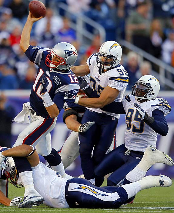 The low blow (bottom of frame) on Tom Brady in Week 2 reminded some of Bernard Pollard's hit that ended Brady's 2008 season.