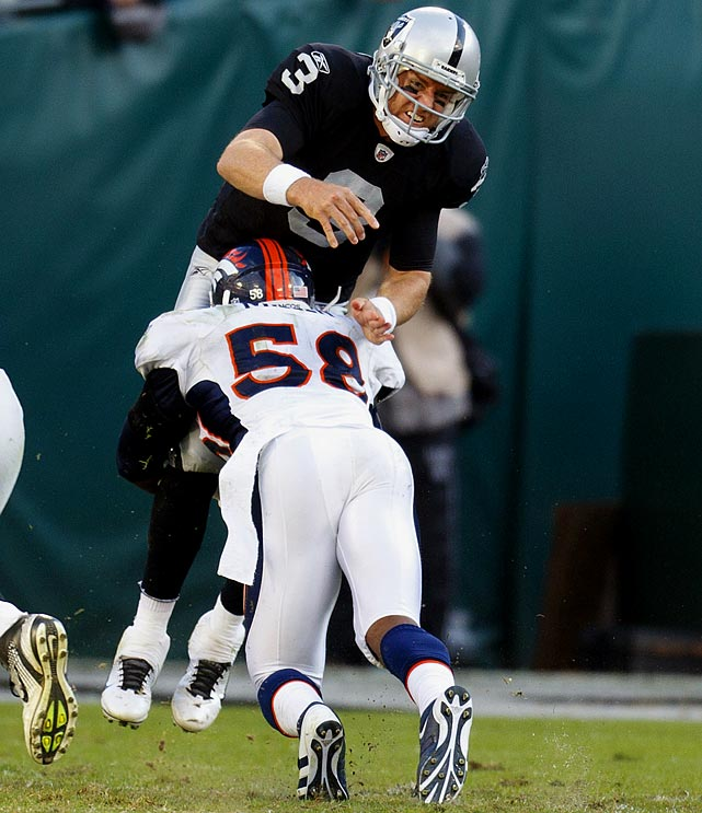 The Broncos pass rusher, a top candidate for defensive rookie of the year, was penalized for driving his helmet into Raiders quarterback Carson Palmer in Week 9.