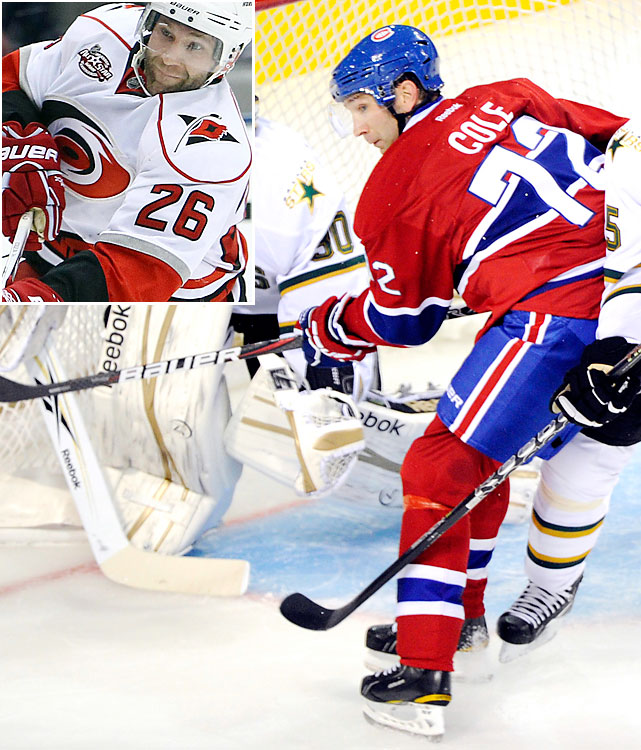 Looking for more offense, the Canadiens signed Cole to a four-year, $18 million deal, but have to hope that the 32-year-old winger can produce for a team other than Carolina. The long-time Hurricane, who scored 26 goals and 52 points for the 'Canes last season, was a disappointment for Edmonton in 2008-09, the only campaign of his 10-year NHL career that he hasn't played in Carolina.