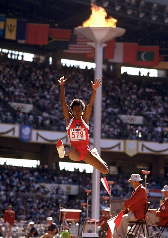 Jackie Joyner-Kersee excelled at the heptathlon and long jump -- over four Olympics, she medaled six times in the two events. In 1988, Joyner-Kersee won both the heptathlon and long jump, and she won the heptathlon again in 1992. She won silver in the heptathlon in 1984, and bronze in the long jump in both 1992 and 1996.