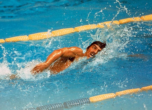 Mark Spitz dominated in the pool in a godly manner in the late '60s and early '70s. At the 1972 Games in Munich, he won seven gold medals and set world records in every event. No Olympic athlete came near that mark until Michael Phelps hit the international swimming scene.