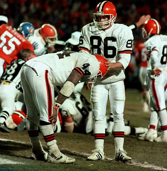 Earnest Byner's fumble at the two with 1:12 remaining prevented Cleveland from scoring the tying touchdown against Denver in the AFC Championship game. The Broncos took an intentional safety and won 38-31.