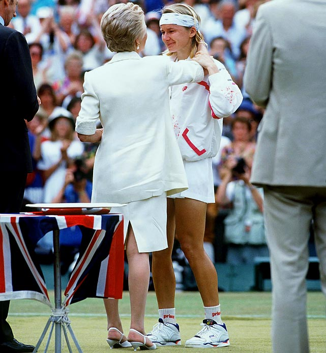 In the 1993 Wimbledon women's singles final, Jana Novotna dropped a tight first set against Steffi Graf, but charged back for a 6--7, 6--1, 4--1, 40-15 lead in the deciding set. As victory neared, she became unnerved and missed easy shots, which included hitting the ball out by wide margins. Graf took the next five games and the title.