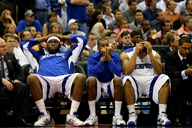 Leading 60-51 lead with 2:12 remaining, Memphis missed crucial free throws and watched Kansas hit a pair of three-pointers, including a game-tying dagger by Mario Chalmers with 2.1 seconds left. The Tigers eventually lost 75-68 in overtime.