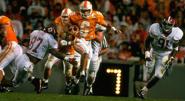 Manning's freshman season in 1994 started like this: No. 1 quarterback Jerry Colquitt suffered a season-ending knee injury on the seventh play of the first game. No. 2 quarterback Todd Helton --  that  Todd Helton -- started the next three games but injured his knee against Mississippi State. Manning and Stewart, also a freshman, were Nos. 3 and 4. While Manning assumed the starting gig, Stewart received the occasional series. With the writing on the wall, Stewart transferred to Texas A&M after the 1994 season and enjoyed a more fruitful tenure in College Station.   Career Tennessee stats (as Manning's backup): 11 games, 40 for 62, 490 yards, 1 TD, 2 INTs.   Other Tennessee quarterback in the Stewart era: Jerry Colquitt.