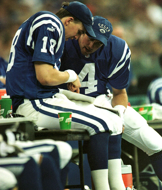 The same Walsh that starred at the University of Miami in the 1980s spent his final pro season in Indy at age 32, displacing Holcomb on the second team. Walsh spent most of his on-field time on one knee, holding for kicker Mike Vanderjagt.   Career Colts stats: 2 games, 7 for 13, 47 yards, 2 INTs, 22.4 rating.   Other Colts quarterback in the Walsh era: Stoney Case.