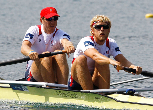 Justin Stagel (left) and Thomas Peszek compete in the men's pair Repechage event.